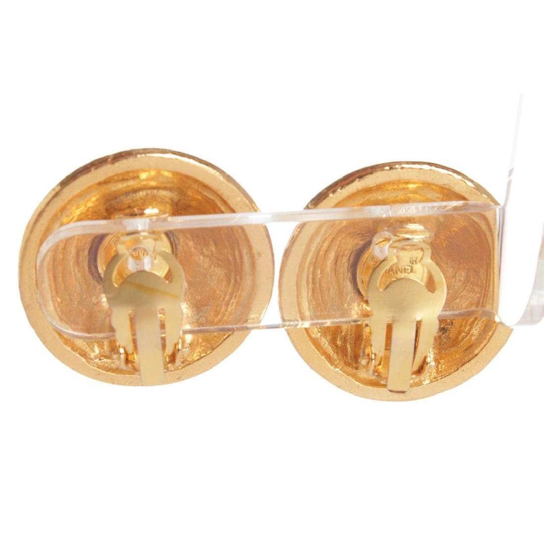 Chanel Gold CC Round Dome Vintage Clip On Earrings - 4