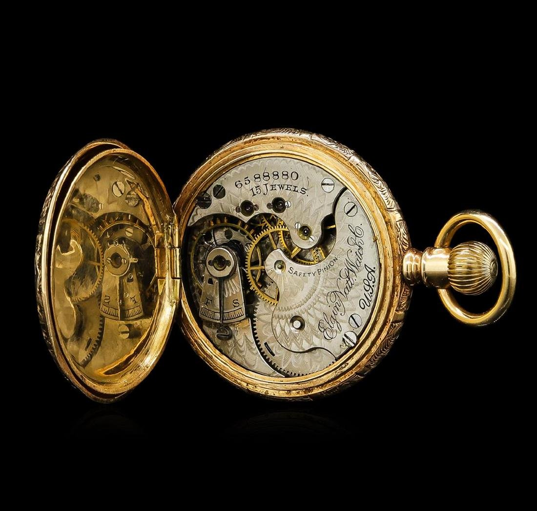 Elgin 14KT Yellow Gold Full Hunter Antique Pocket Watch - 5