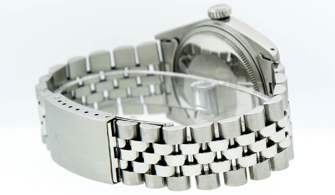 Rolex Mens Stainless Steel Silver Diamond Datejust - 4