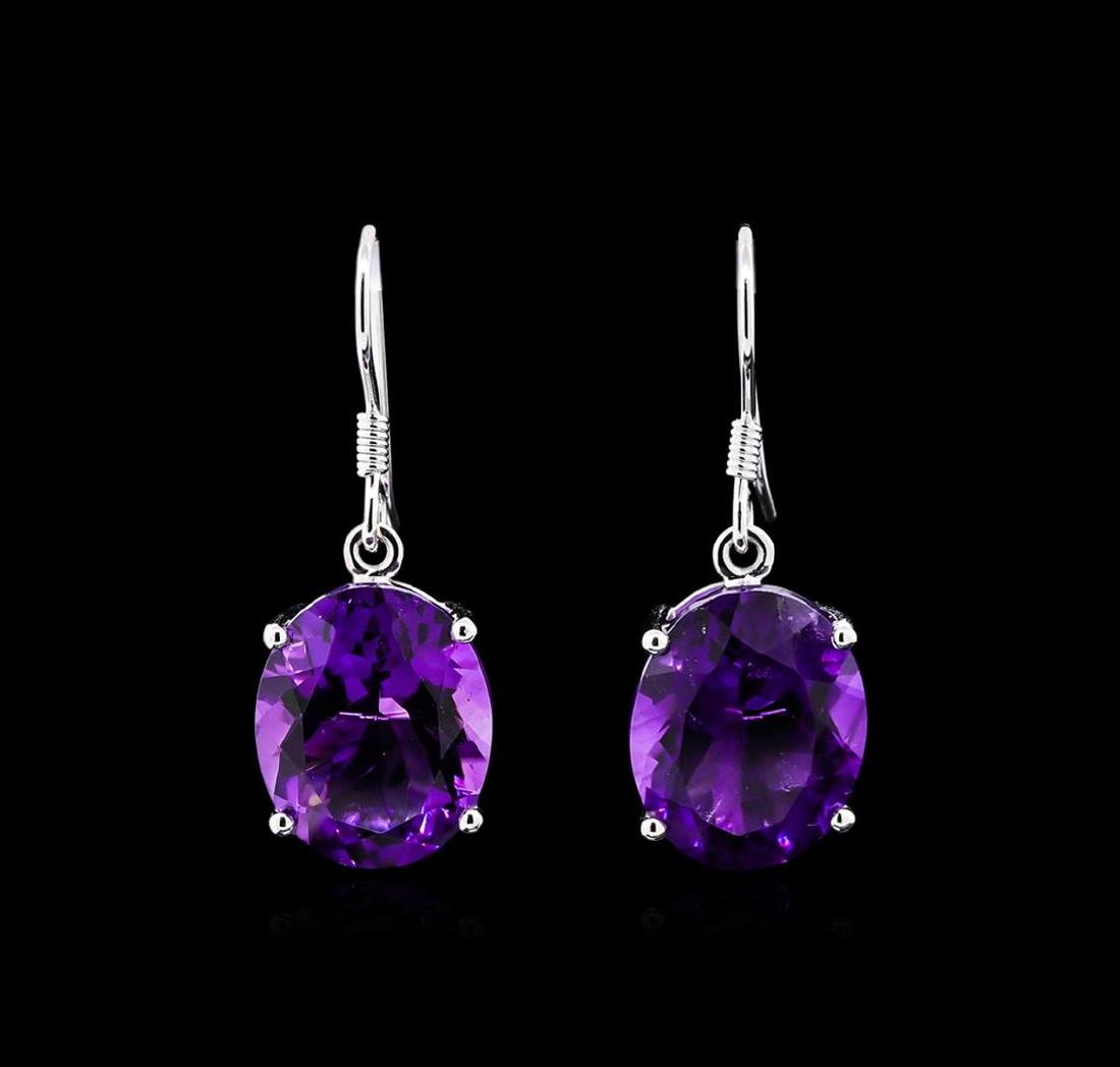 Crayola 17.60 ctw Amethyst Earrings - 14K White Gold