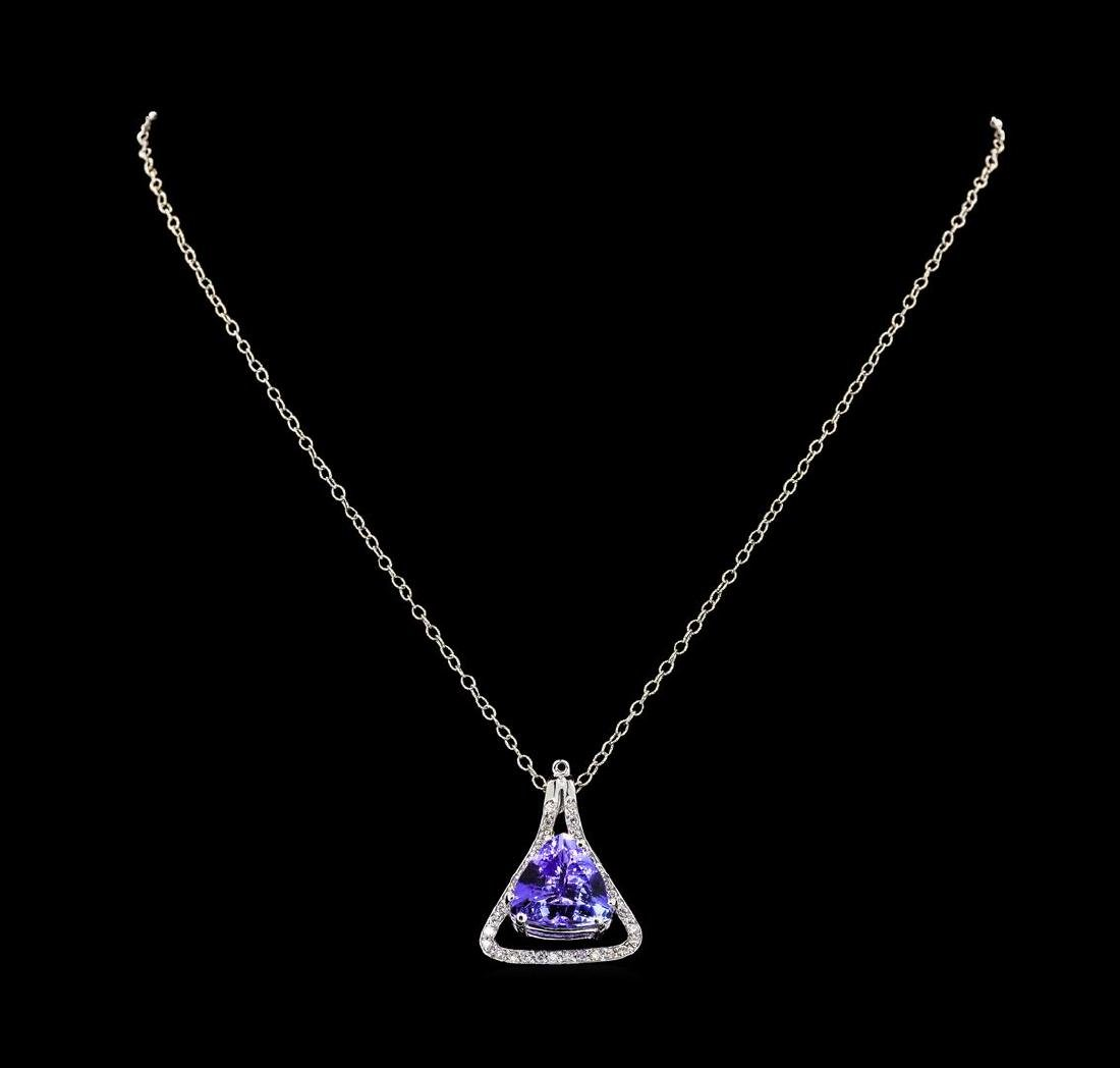 9.36 ctw Tanzanite and Diamond Pendant With Chain -