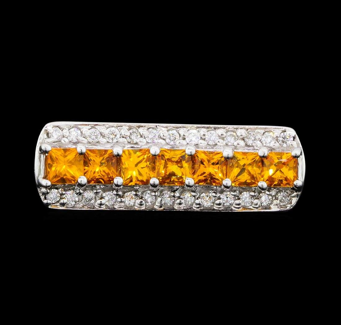0.80 ctw Citrine and Diamond Ring - 14KT White Gold - 2
