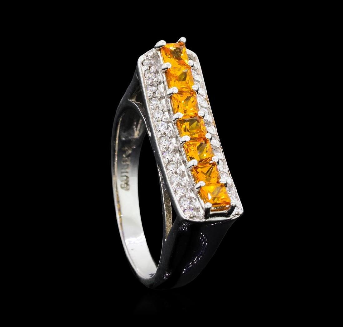 0.80 ctw Citrine and Diamond Ring - 14KT White Gold - 4