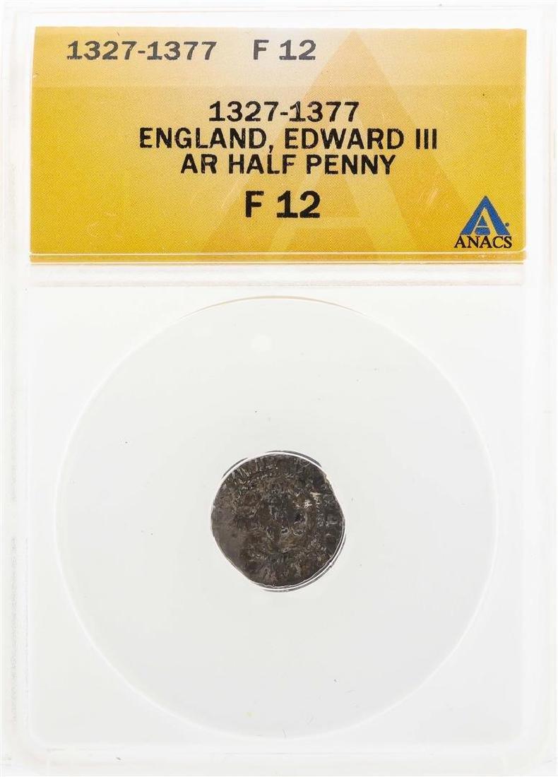 1327-1377 England Edward III AR Half Penny Coin ANACS