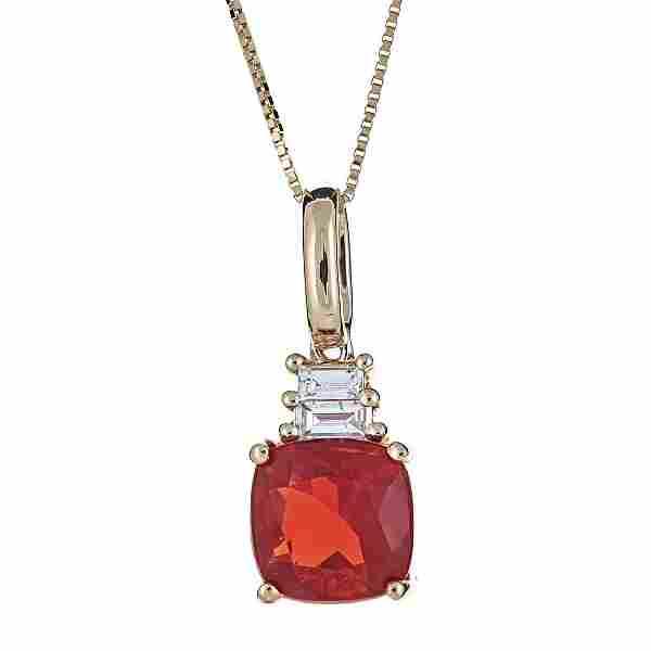 1.29 ctw Fire Opal and Diamond Pendant - 14KT Yellow