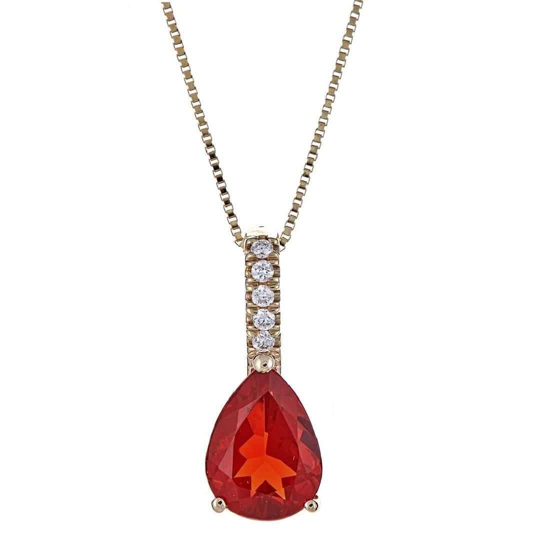 0.78 ctw Fire Opal and Diamond Pendant - 14KT Yellow