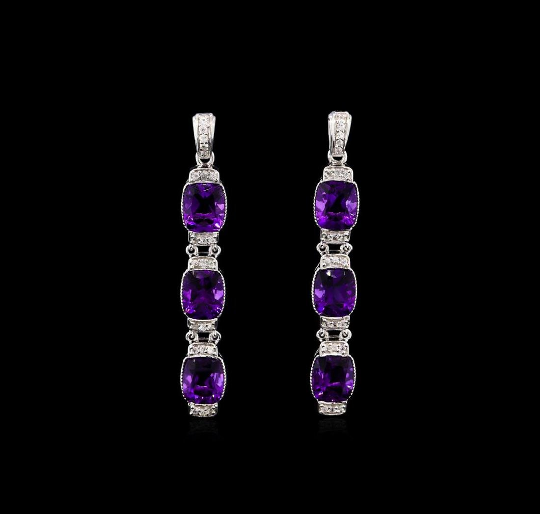 Crayola 15.60 ctw Amethyst and White Sapphire Earrings