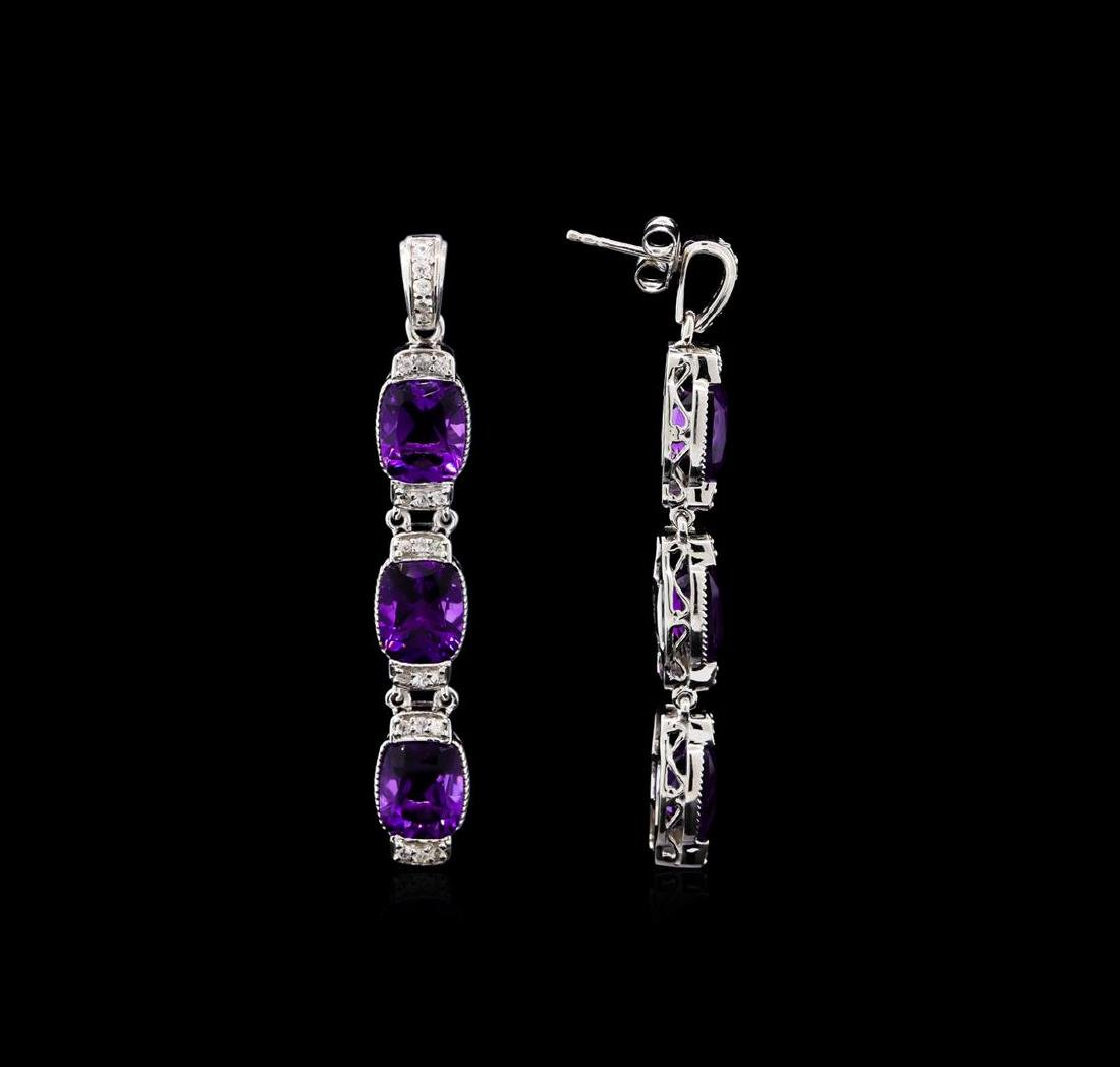 Crayola 15.60 ctw Amethyst and White Sapphire Earrings - 2