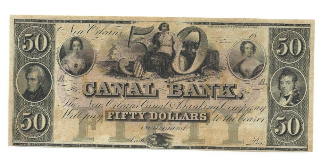 1800's $50 Canal Bank, New Orleans, LA Obsolete Bank