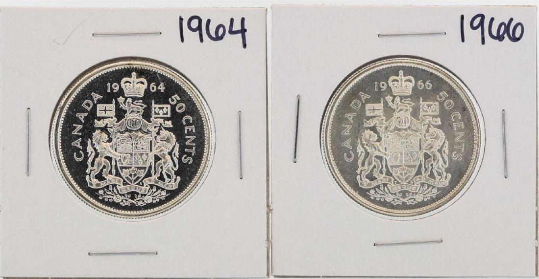 Lot of 1964 & 1966 $1 Canada Half Dollar Silver Coins