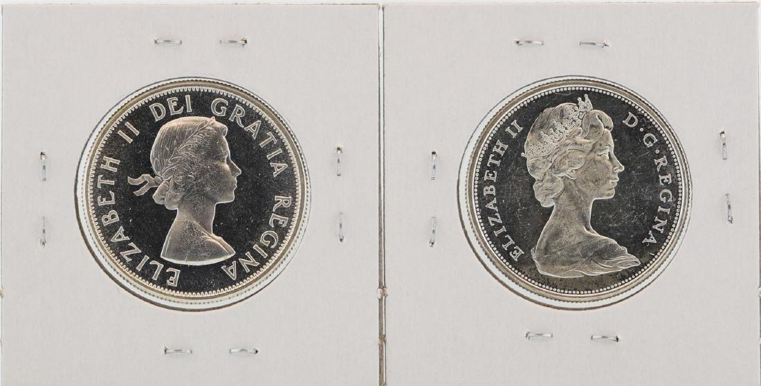 Lot of 1964 & 1966 $1 Canada Half Dollar Silver Coins - 2