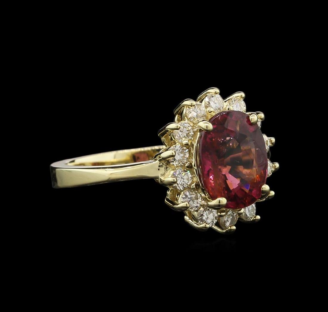 2.11 ctw Pink Tourmaline and Diamond Ring - 14KT Yellow