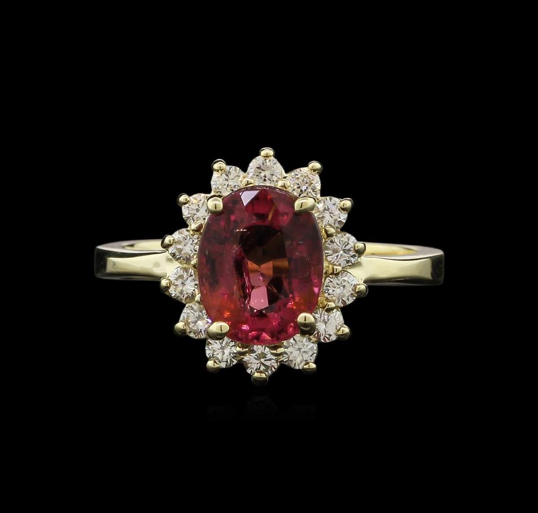 2.11 ctw Pink Tourmaline and Diamond Ring - 14KT Yellow - 2