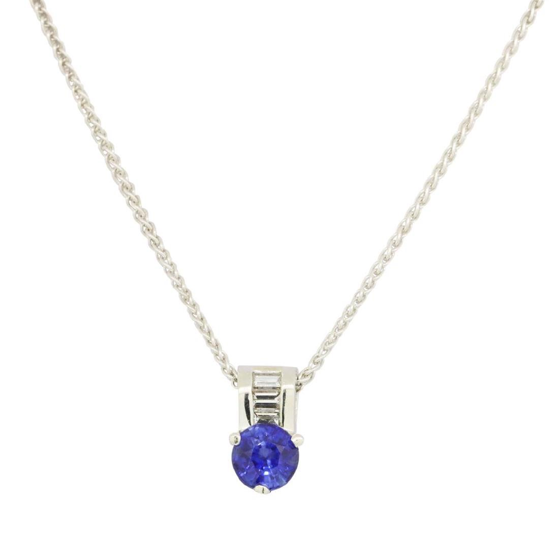 1.03 ctw Diamond And Blue Sapphire Pendant With Chain -