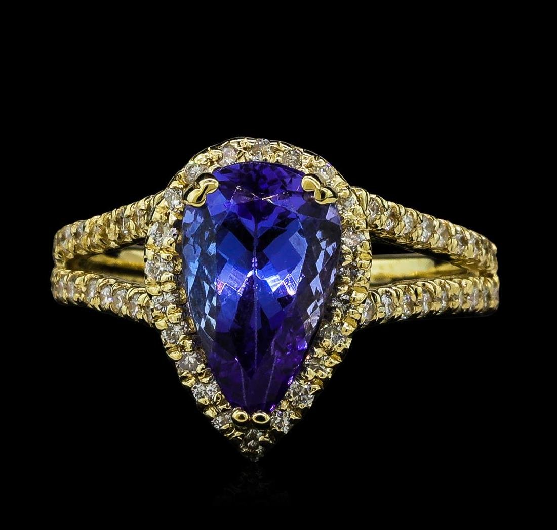 2.43 ctw Tanzanite and Diamond Ring - 14KT Yellow Gold - 2