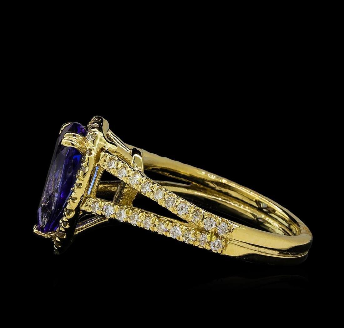 2.43 ctw Tanzanite and Diamond Ring - 14KT Yellow Gold - 3
