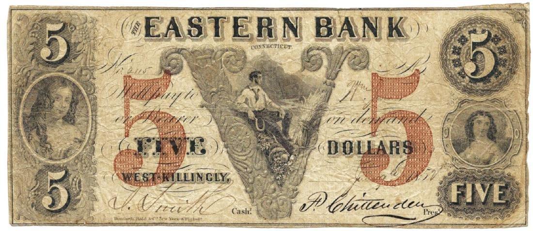 1852 $5 Eastern Bank, West-Killingly, CT Obsolete Bank
