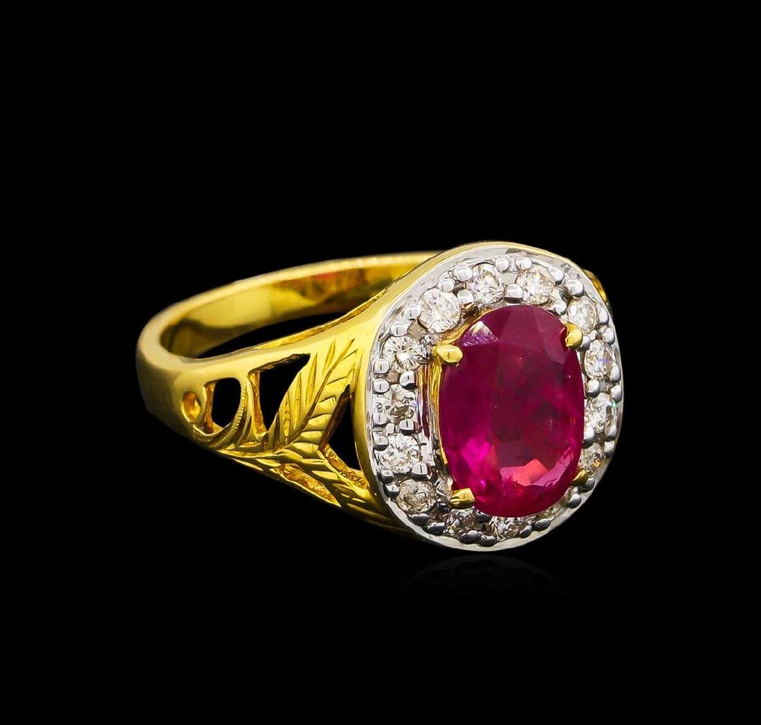 1.85 ctw Ruby and Diamond Ring - 18KT Yellow Gold