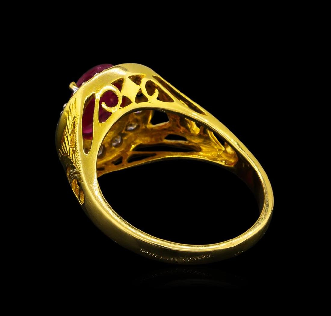 1.85 ctw Ruby and Diamond Ring - 18KT Yellow Gold - 3