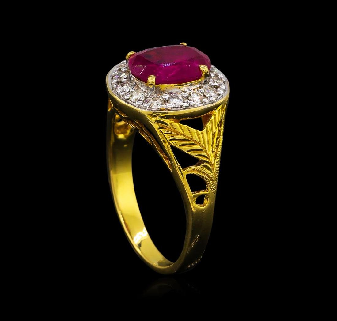 1.85 ctw Ruby and Diamond Ring - 18KT Yellow Gold - 4