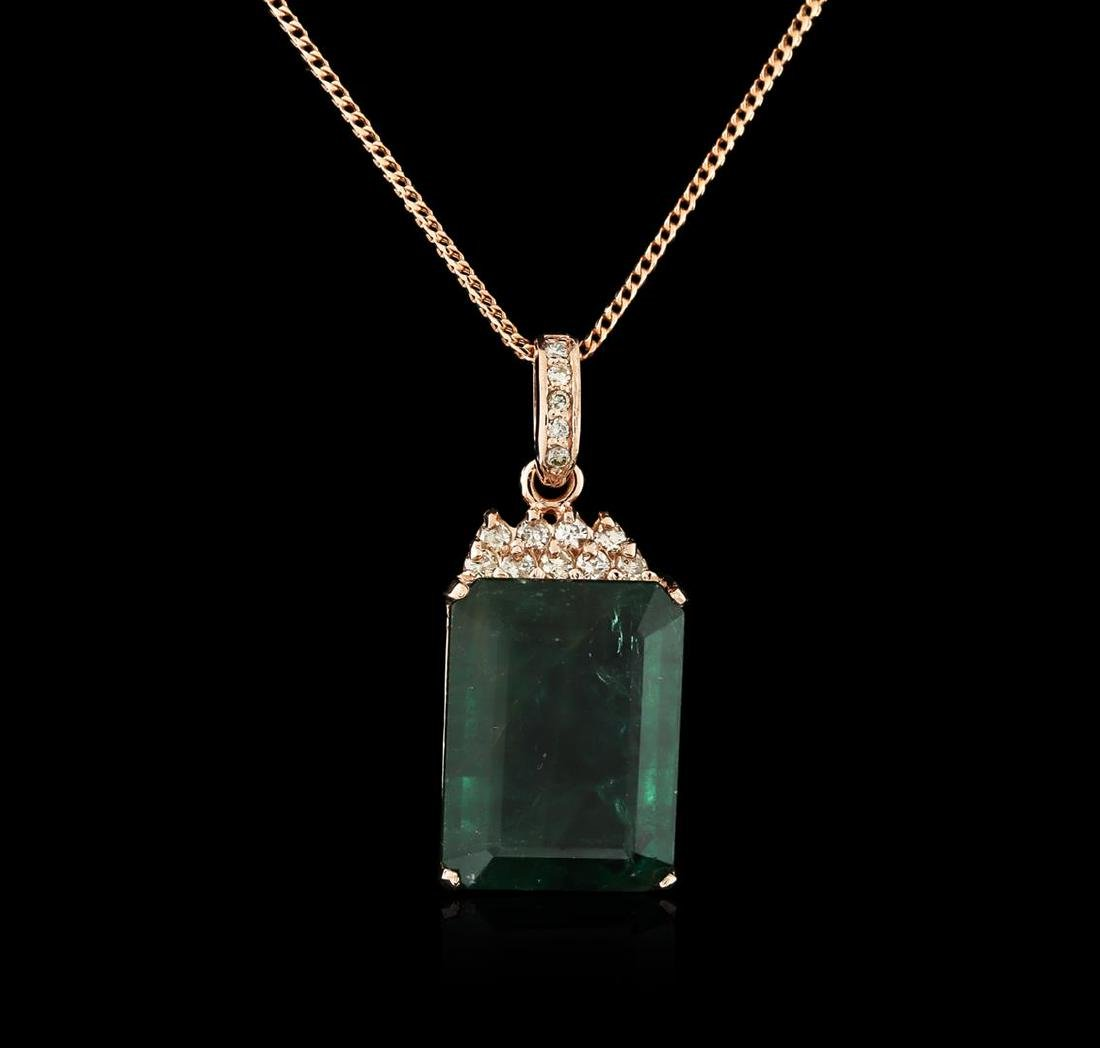 14KT Rose Gold 18.78 ctw Emerald and Diamond Pendant