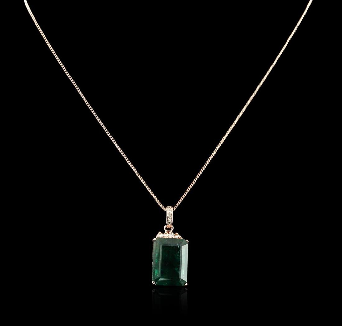 14KT Rose Gold 18.78 ctw Emerald and Diamond Pendant - 2