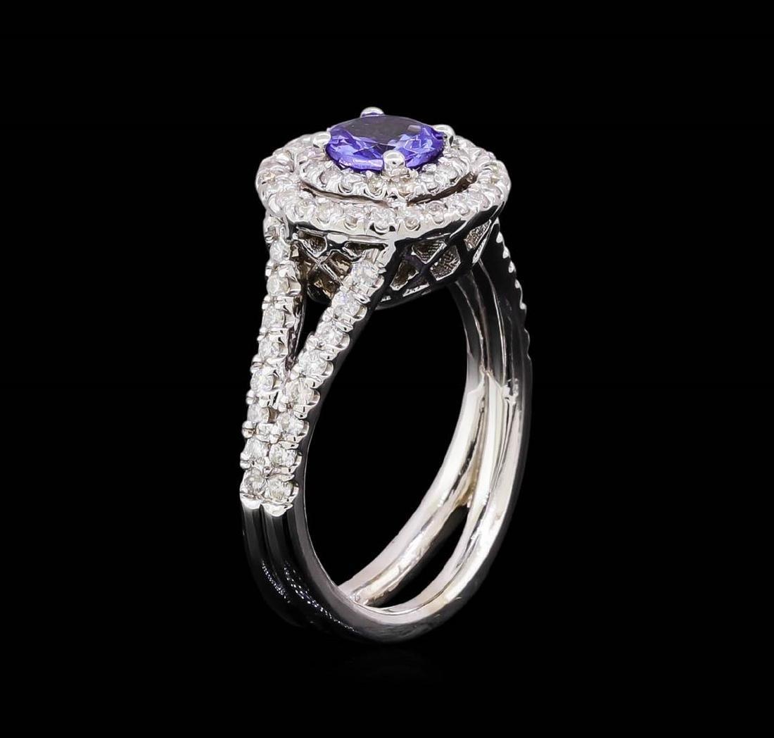 14KT White Gold 1.24 ctw Tanzanite and Diamond Ring - 4