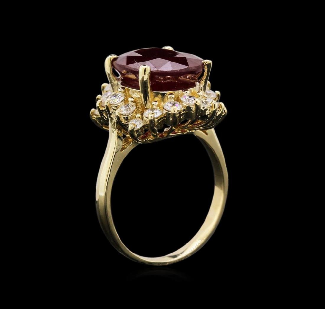 8.25 ctw Ruby and Diamond Ring - 14KT Yellow Gold - 3