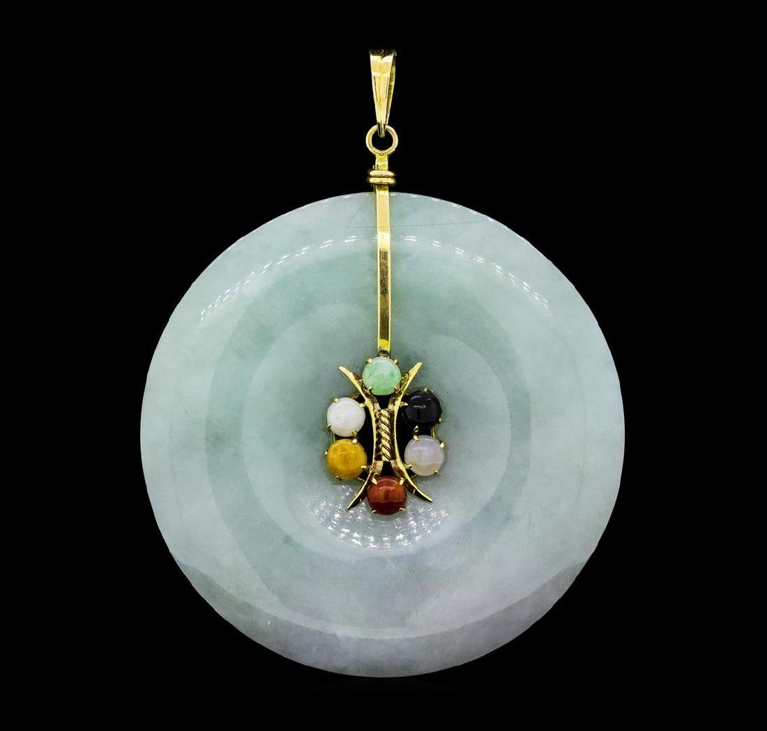 Carved Nephrite Jade Circle and Multi-Color Jade