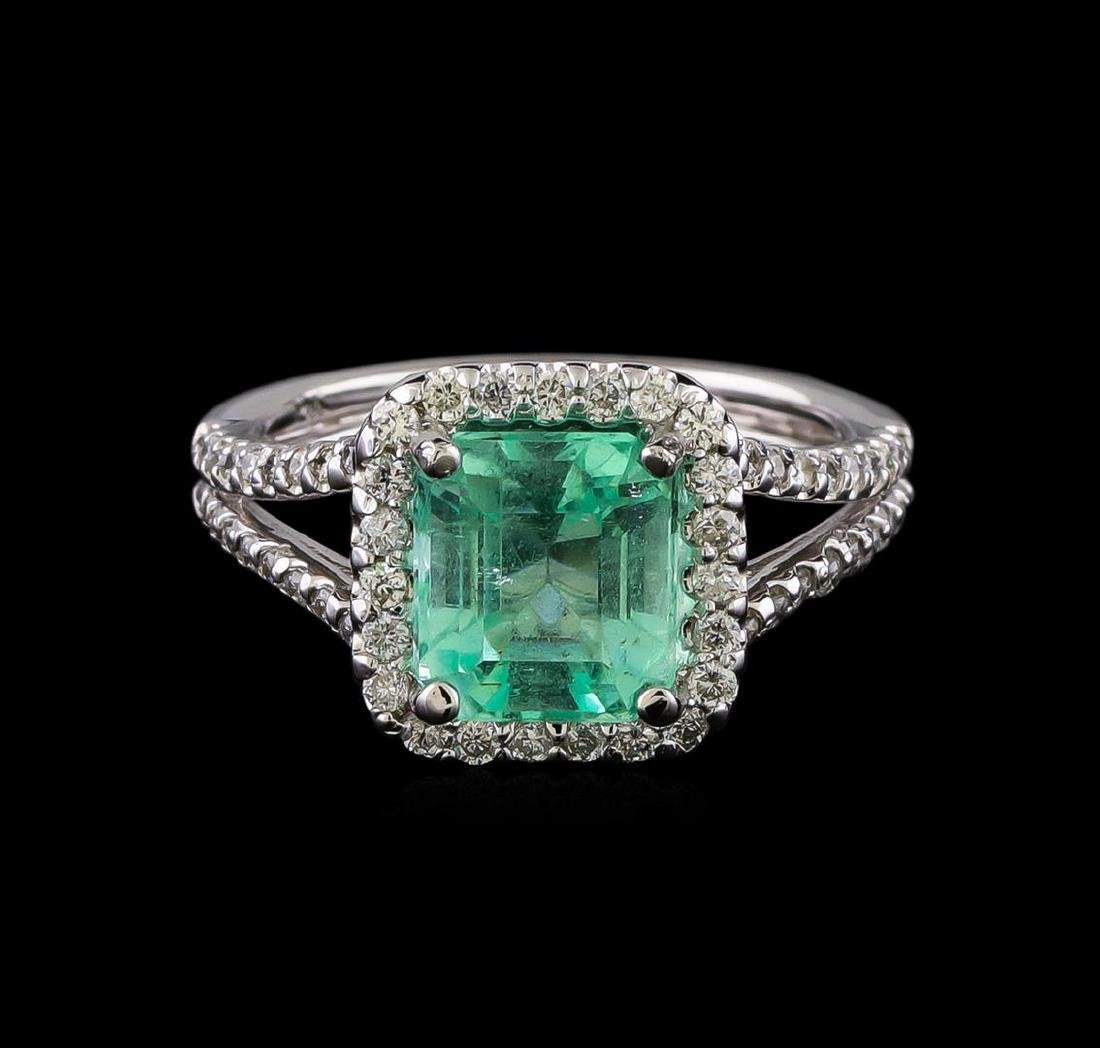 2.33 ctw Emerald and Diamond Ring - 14KT White Gold - 2
