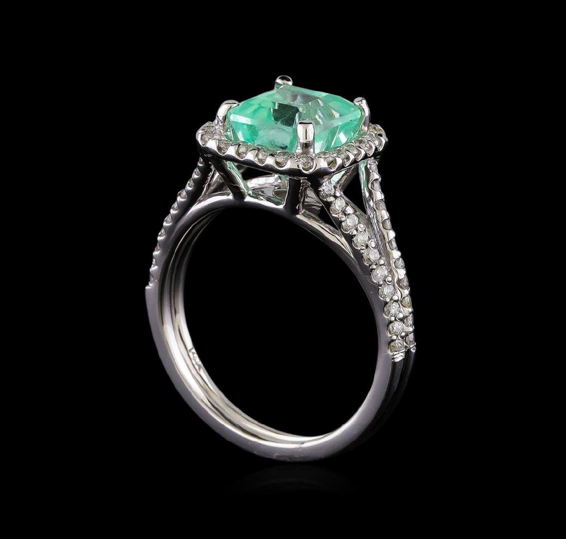 2.33 ctw Emerald and Diamond Ring - 14KT White Gold - 4