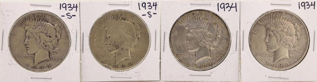 Lot of (2) 1934 & (2) 1934-S $1 Peace Silver Dollar