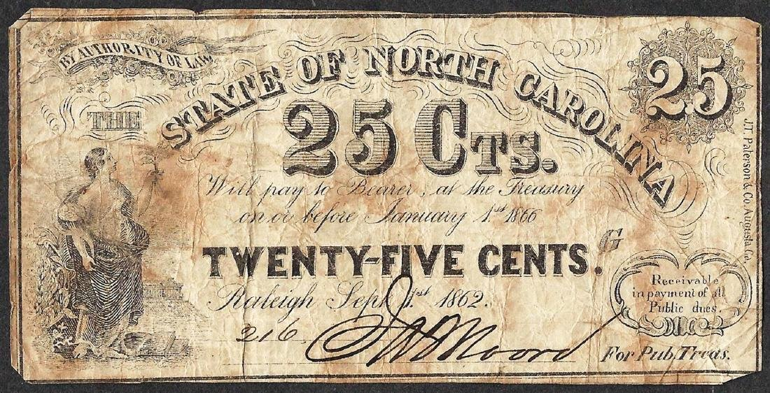 1862 Twenty-Five Cents State of North Carolina Obsolete