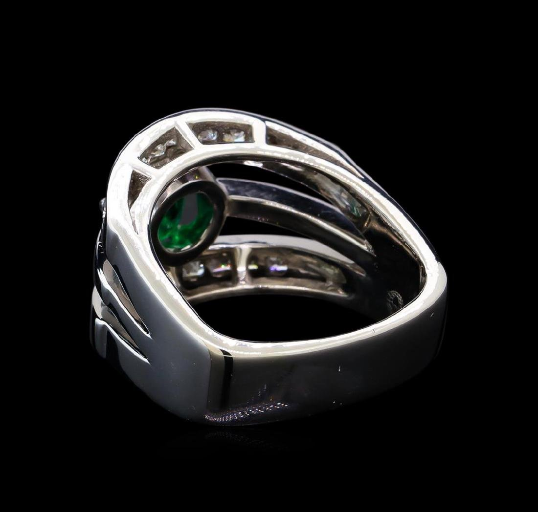1.25 ctw Emerald and Diamond Ring - 14KT White Gold - 3