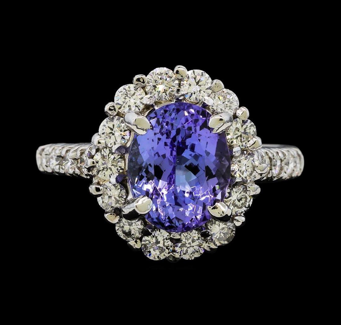 1.80 ctw Tanzanite and Diamond Ring - 14KT White Gold - 2