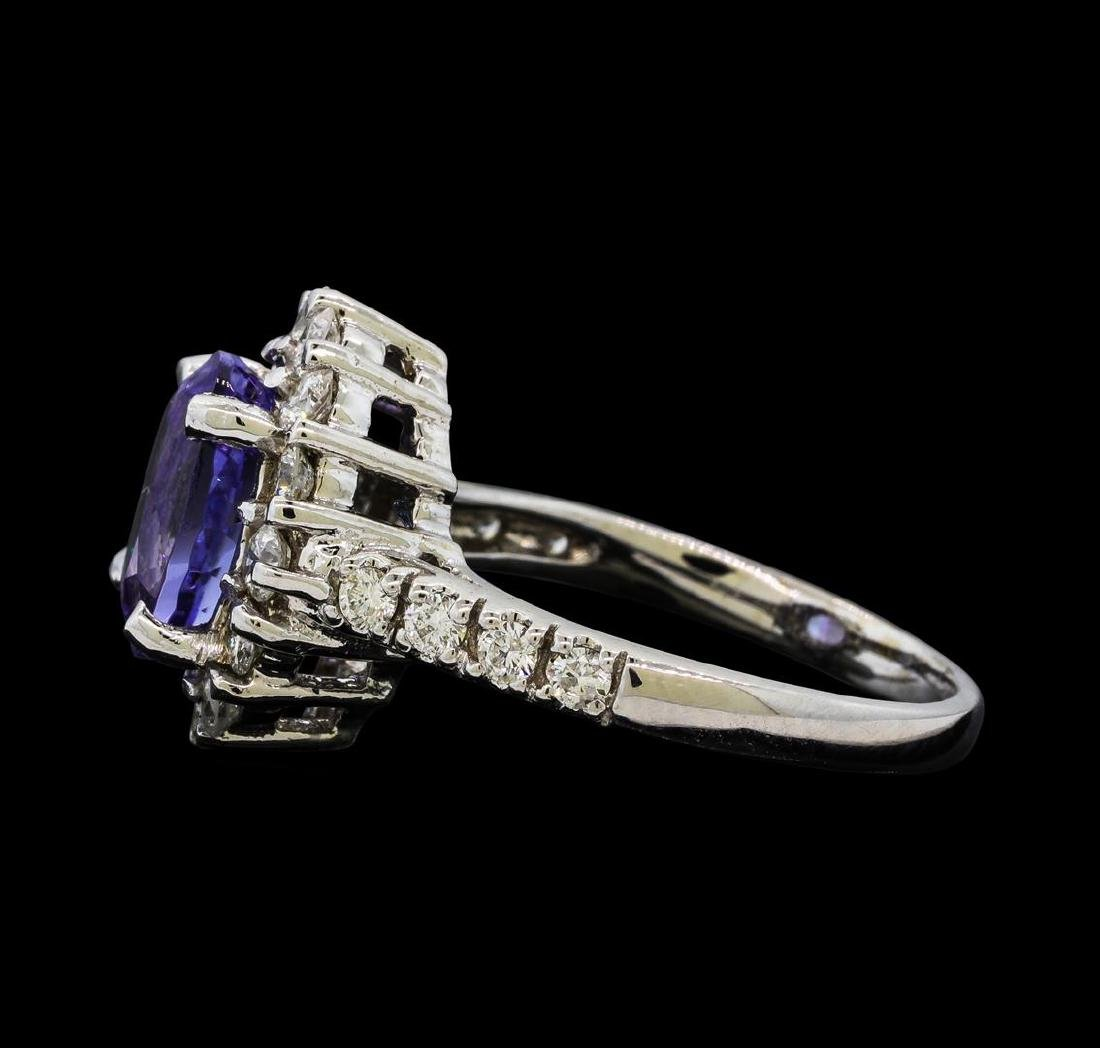 1.80 ctw Tanzanite and Diamond Ring - 14KT White Gold - 3