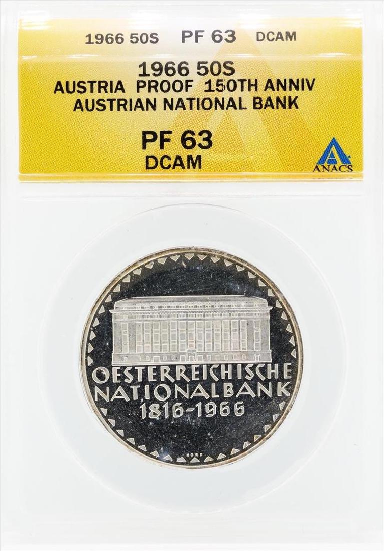 1966 Austria Proof 50 Shilling Silver Coin ANACS PF63