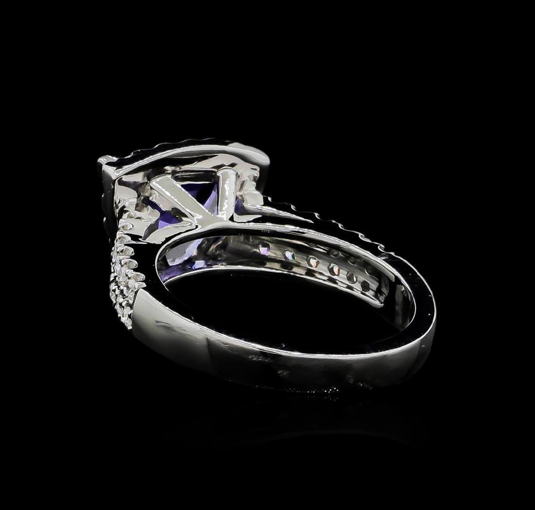 1.90 ctw Tanzanite and Diamond Ring - 14KT White Gold - 3