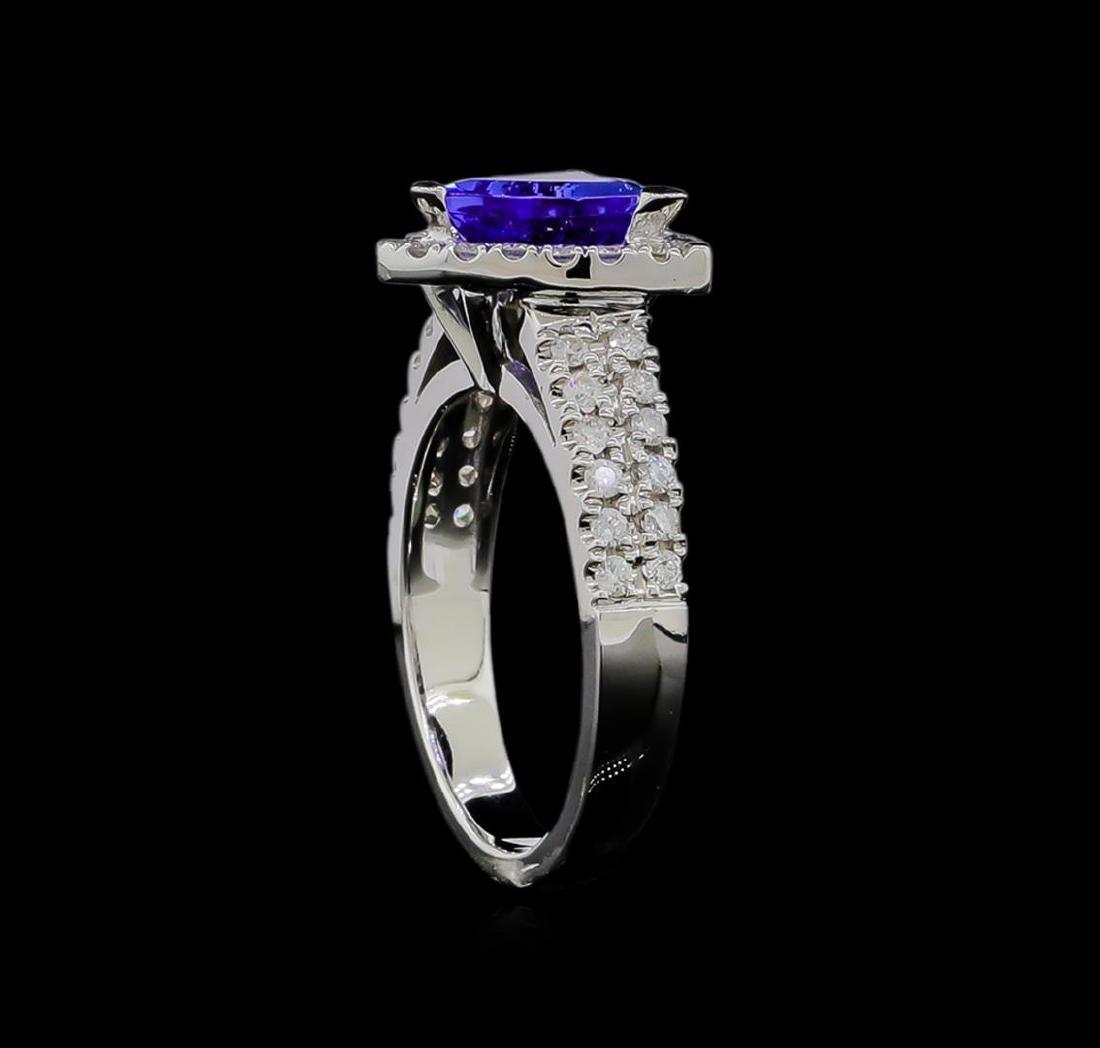 1.90 ctw Tanzanite and Diamond Ring - 14KT White Gold - 4
