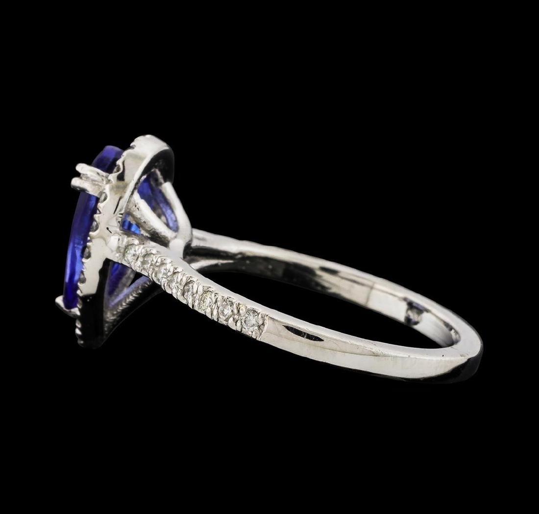 1.65 ctw Tanzanite and Diamond Ring - 14KT White Gold - 3