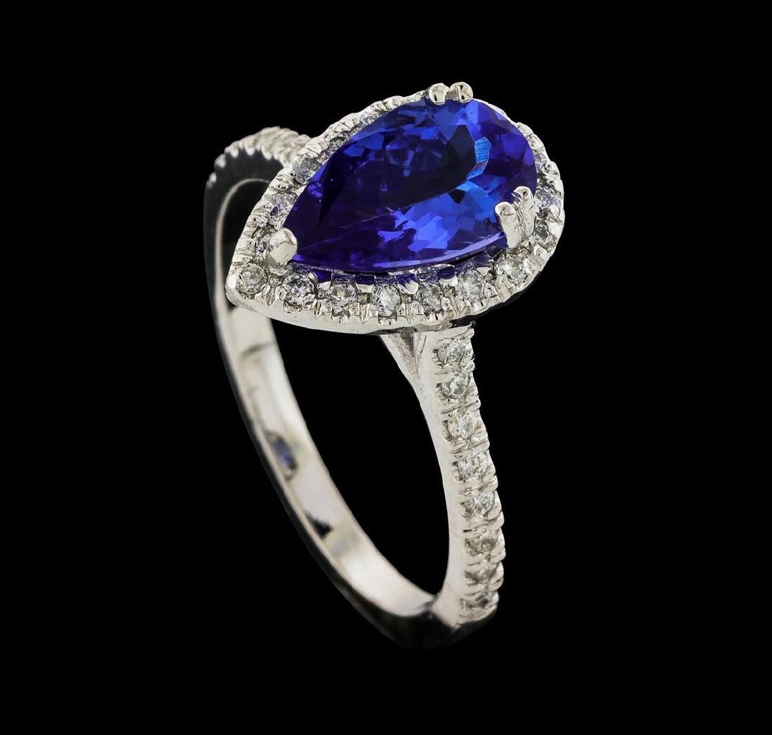 1.65 ctw Tanzanite and Diamond Ring - 14KT White Gold - 4