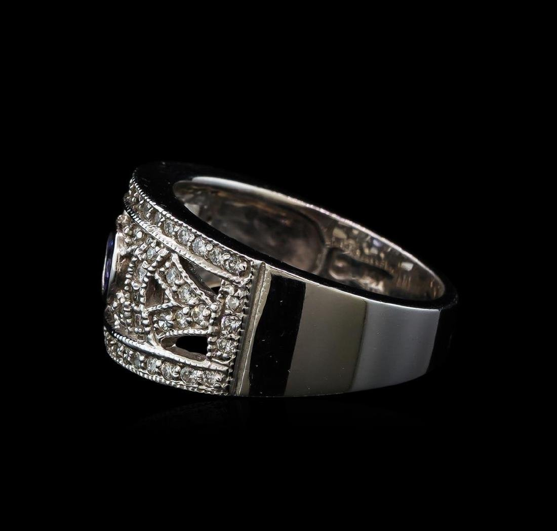 0.28 ctw Tanzanite and Diamond Ring - 14KT White Gold - 3
