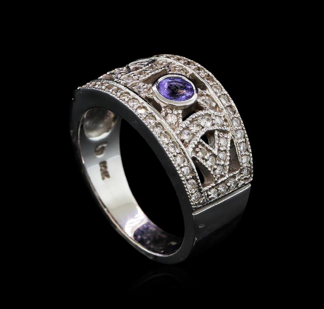 0.28 ctw Tanzanite and Diamond Ring - 14KT White Gold - 4