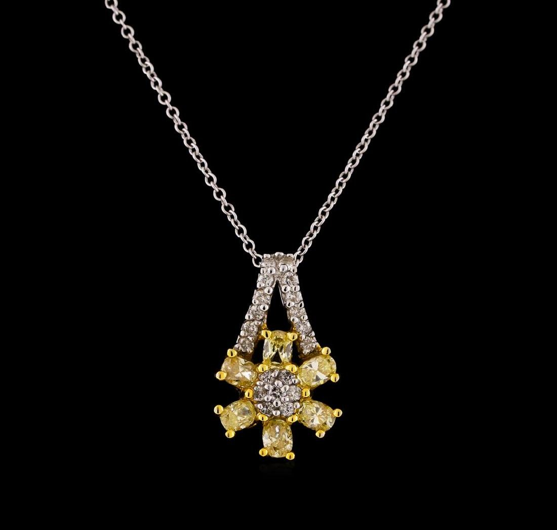 0.85 ctw Diamond Pendant With Chain - 18KT Two-Tone