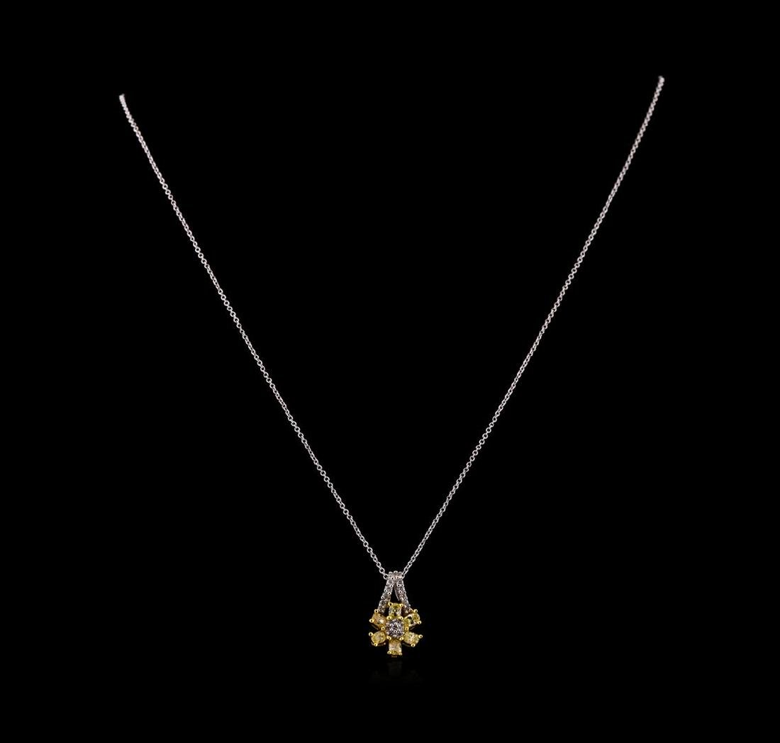 0.85 ctw Diamond Pendant With Chain - 18KT Two-Tone - 2