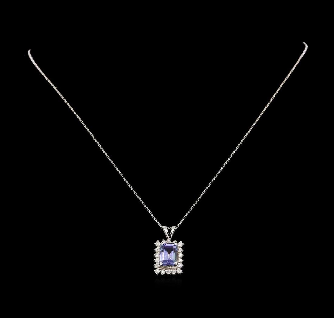 14KT White Gold 1.89 ctw Tanzanite and Diamond Pendant