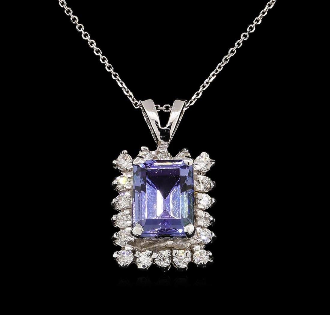 14KT White Gold 1.89 ctw Tanzanite and Diamond Pendant - 2