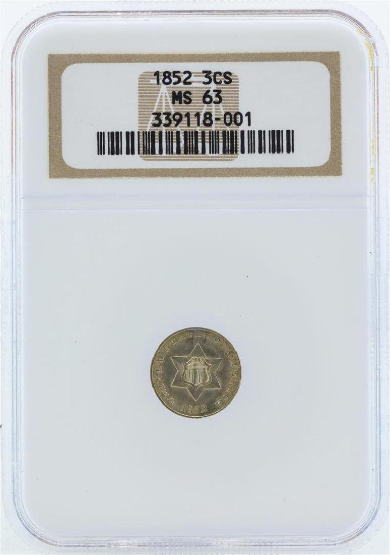 1852 Three Cent Silver Nickel Coin NGC MS63
