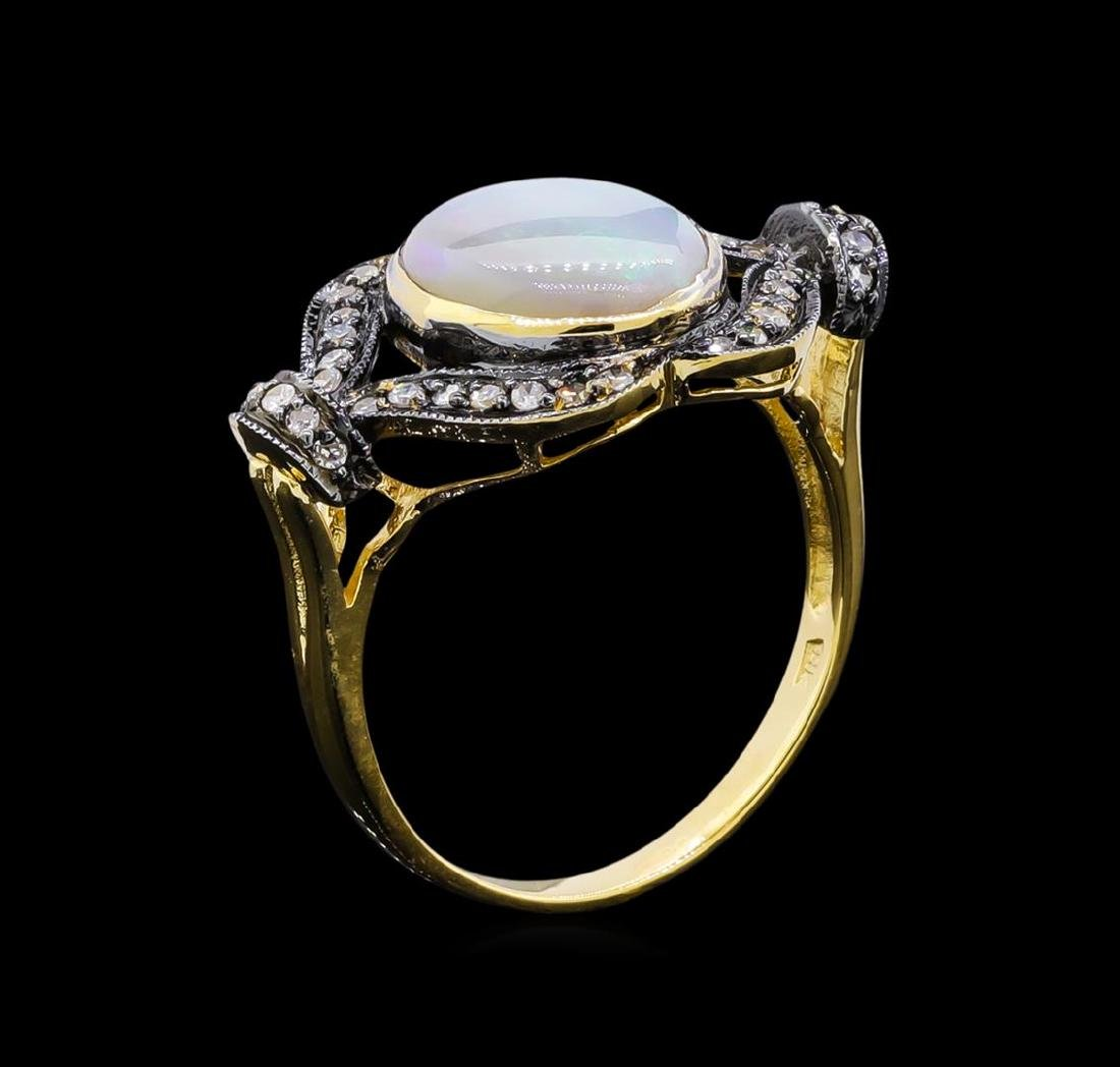 4.40 ctw Opal and Diamond Ring - 18KT Yellow Gold - 4
