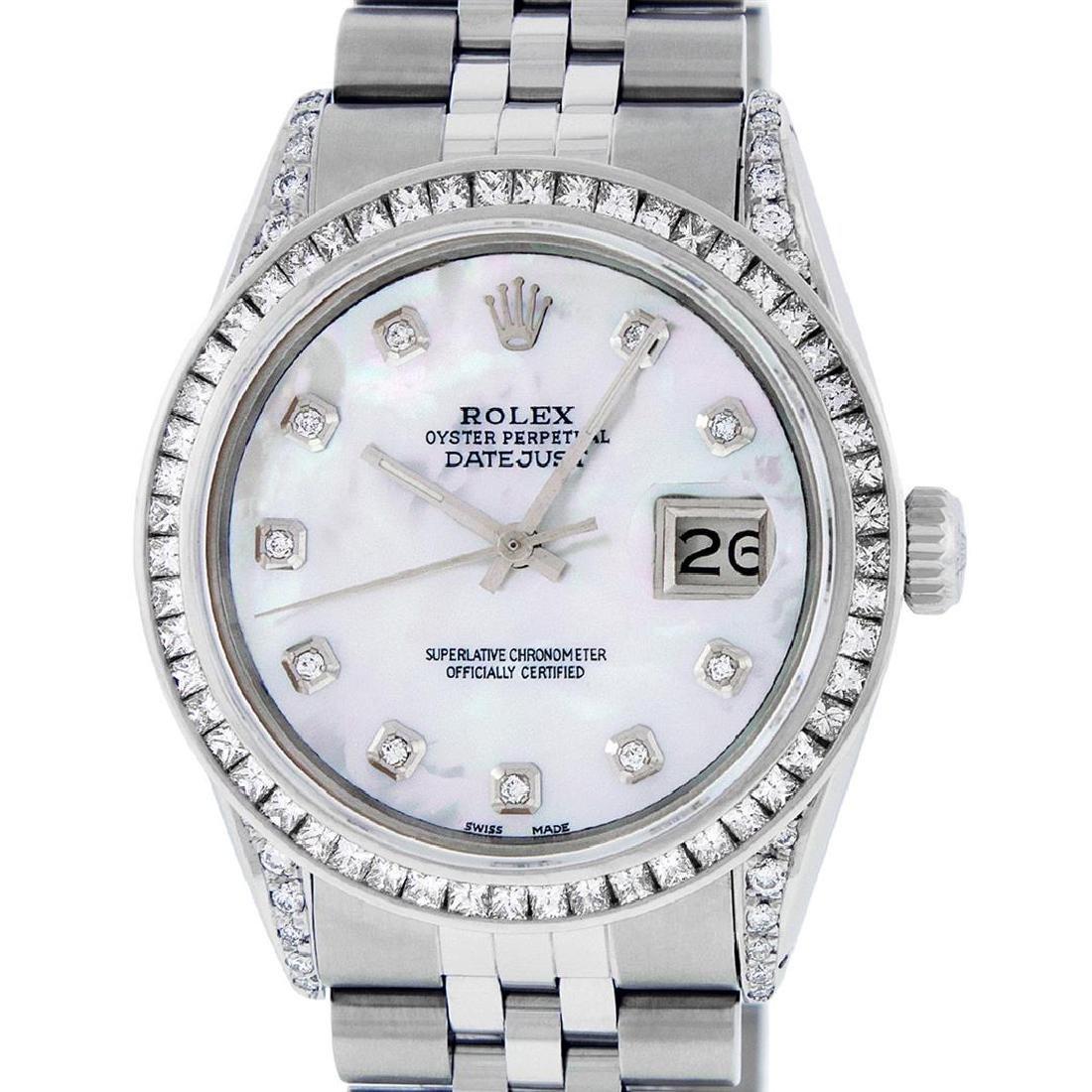Rolex Mens SS MOP Diamond Lugs & Princess Cut Diamond